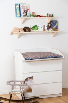 Wickelaufsatz für Ikea Wickelkommode (80 cm Breite) aus Melamin beschichteten Birkenholz