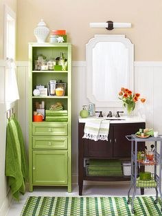 Bathrooms often have small footprints but plenty of unused vertical space. A tall but narrow cabinet can be used to store toilet paper, towels, and toothbrushes. Look for a model that has both closed storage (such as cabinets and drawers) and open shelves to both conceal items and provide easy access to everyday items.