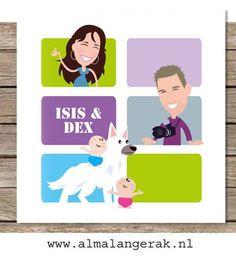 #custom #birth #announcements #illustrated #cartoon #maatwerk #geboortekaartjes #illustratie #hond #tweeling #dog #twins #herdershond