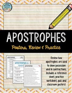 Students struggling with apostrophes?! Lesson, posters and review quiz included! ($)
