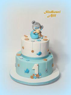 tort na roczek - Szukaj w Google Teddy Bear Cakes, Baby Party, Cute Cakes, Baby Shower Cakes, Cake Smash, Amazing Cakes, 2nd Birthday, First Birthdays, Sweet