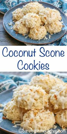 Coconut Scone Cookies are a perfect mix of flaky buttery scone and sweet coconut! get the recipe at barefeetinthekitc. Cake Mix Recipes, Easy Cookie Recipes, Dessert Recipes, Bar Recipes, Scone Recipes, Dessert Healthy, Coconut Cookies, Yummy Cookies, Coconut Cookie Recipe