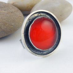 Statement round ring with Carnelian and sterling silver - Juicy Fruits -.