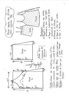 Blusa regata de Alcinha sem pences – Marlene Mukai T Shirt Sewing Pattern, Easy Sewing Patterns, Doll Clothes Patterns, Sewing Clothes, Clothing Patterns, Embroidery Techniques, Sewing Techniques, Velvet Dress Designs, Costura Fashion