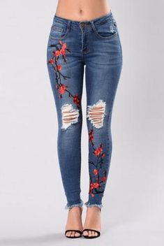Womens skinny sexy slim elastic fit lady jeans trousers corner embroidered small feet plus size pantalones vaqueros mujer Denim Jeans, Womens Ripped Jeans, Ripped Denim, Casual Jeans, Jeans Pants, Skinny Jeans, Skinny Waist, Women's Casual, Fall Jeans