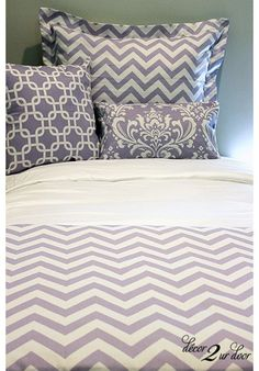 Lavender & White Chevron Designer Teen & Dorm Bed in a Bag | Teen Girl Dorm Room Bedding