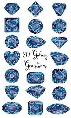 Galaxy Gemstones Clipart Watercolor galaxy gems that are perfect for invitations, scrapbooking, cardmaking, wedding stationary, photo albums, craft projects, collages, wall art, web graphics, business cards, letterhead, stationary and so much more. Set of 20 high resolution gemstone