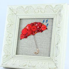 Framed Red Umbrella Button Art by PaintedWithButtons