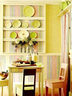 Stock lumber and a few simple moldings turn a wall into an (almost) instant hutch. Wallpaper behind the shelves and below the chair rail suggests the outline of furniture./