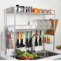 Stainless Steel Adjustable Dish Drying Rack Utensil Holder, Removable Side Compartments For Utensils, Cutlery, Liner Dish Holder, Over the Sink Kitchen Storage Shelf (Double Groove) Kitchen Organisation, Diy Kitchen Storage, Diy Kitchen Decor, Kitchen Shelves, Kitchen Interior, Home Organization, Home Decor, Kitchen Racks, Kitchen Cabinets