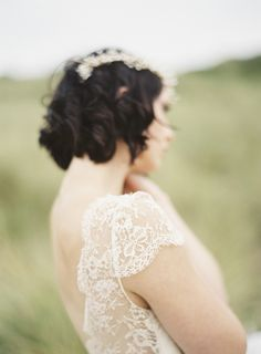 Laure de Sagazan wedding gown   Romantic Coastal Wedding Inspiration   Sarah Hannam Photography