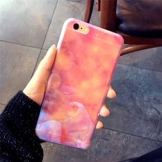 Fashion Modern Blue Ray Light Clear Mobile Phone Case For iPhone 7 7plus 6 6S plus Fade Soft pink Transparent Cover Capa Conque