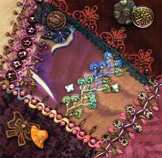 I dropped the button box - crazy quilt block 9