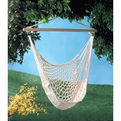 Cotton Swing Hammock Chair 35330 This cotton hammock chair is perfect to hang on porch or branch. This comfy cradle will quickly become your favorite place to relax! - Max. Wt.: 200 lbs. - Cotton with
