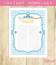 Instant Download Blue Owl Guest List for Boy Printable Blue Owl Baby Shower Guest Sign In Sheet Blue Owl Birthday Guest Sign-In by TppCardS #tppcards