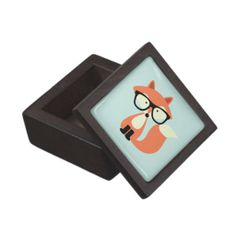 Cute Hipster Red Fox Premium Trinket Boxes