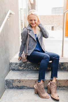 In love with this suede moto jacket! 💕 It's perfect for fall & part of the #NSale. Everything else I'm wearing is on sale too! 🙌🏻Get the details in my profile link or here: [ http://liketk.it/2s9ki ] @liketoknow.it #liketkit #LTKsalealert #mondays #nordstromsale