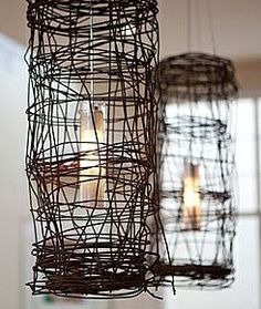 wire diy-lights, these would look great with Marconi bulbs to give an old rustic feel to them!