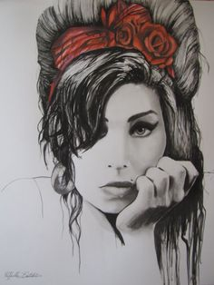 """ARTFINDER: """"Amy"""" by Raffaella Bertolini - An intimate portrait of the beautiful and talented Amy Winehouse. Pencils , Indian black Ink Drawing on Bristol paper, 270gsm, 50x60cm."""