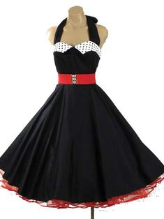 1950s Reproduction Black Full Circle Halter Swing Dress w/Polka Dot Collar