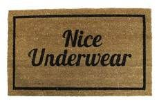 "HAHAHA! Wonder if I can get it in turquoise/teal?  I'm SO going to acquire this. It'd make me laugh every time I walked through the door ... ""Nice Underwear"" Doormat"