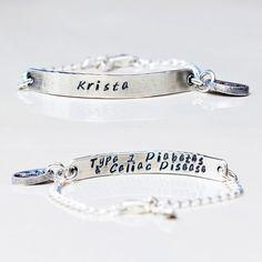 Medical Alert Bracelet and ID Bracelet Sterling Silver Custom Made - Women…