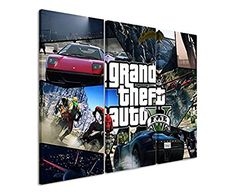 3-Piece Canvas Picture gta_v_tiles_3 x 90 x 40 CM, Total Size 120 x 90 CM _ausführung Beautiful print finishing on real canvas as A Wall Picture on Stretcher Frame