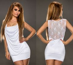 ROBE DE SOIREE COURTE STRETCH BLANCHE DOS DENTELLE TOP SEXY FEMME T.36/38 - S/M Bow Back, All White, Camisole, Sexy Women, White Dress, Outfit Ideas, Outfits, Mini, Dresses
