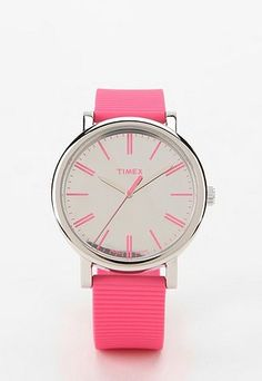 Style: Eleven Excellent Watches To Covet  (Pretty 'n' pink Timex Modern Easy Reader Watch, via Urban Outfitters)
