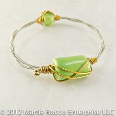 Guitar string bangle line green ceramic focal bronze wire wrap. GSB23