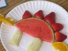 dinosaur snack idea made with fresh fruit!