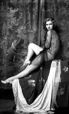 Drucilla Strain - c. 1928 - Ziegfeld Follies Girl - Photo by Alfred Cheney Johnston (American, 1885-1971) - Nude and draped in netting in front of tapestry - @Mlle