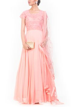 Misty Rose Georgette Circular Cut Suit Set