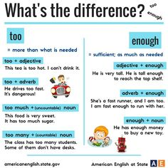 TOO vs ENOUGH #learnenglish