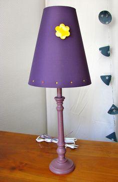 Lampe pied en bois bleu canard abat jour imprimé recto verso
