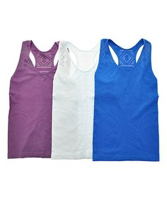 Look what I found on #zulily! Angelina Purple Geometric Seamless Racerback Tanks - Set of Three #zulilyfinds