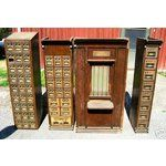 Antique Oak Post Office W/Window 52 Brass Mail Boxes !