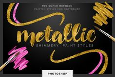Shimmery Gold Styles for Photoshop by Creators Couture on @creativemarket