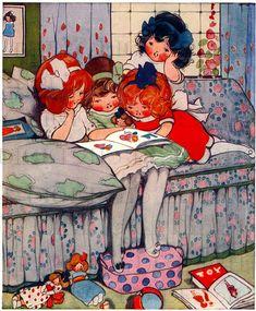 My FAVORITE! Children READING! Hilda Cowham. Vintage Children Reading Illustration. Vintage Printable DIGITAL Image Download. Digital Print.