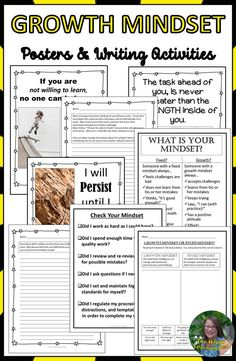 Growth Mindset Posters and Writing Activities Writing Activities, Teaching Resources, Teaching Ideas, Growth Mindset Posters, Spring Activities, Character Education, 5th Grades, First Day Of School, Social Skills
