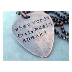 Guitar PIck Necklace, When Words Fail Music Speaks ❤ liked on Polyvore