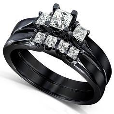 Black Gothic Princess-cut Diamond Bridal Ring Set  #gothic #gothicwedding #goth #gothicweddingrings Gothic wedding ring