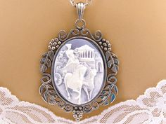 Light Blue Cameo Necklace: Chariot Driver Blue by mwhitejewelry