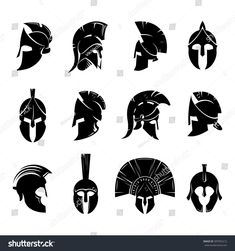 Silhouettes spartan helmet isolated from the background. Vector set of roman or greek warrior helmet. Spartan Helmet Tattoo, Warrior Helmet, Spartan Warrior, Bild Tattoos, Neue Tattoos, Body Art Tattoos, Sleeve Tattoos, Gladiator Tattoo, Gladiator Helmet