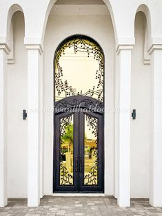 Did you know our wrought iron doors are handcrafted and built to your specifications for both residential and commercial purposes? 💡 About this design: Custom Iron Door w/Transom ☎️️ 877-205-9418 🌐 www.iwantthatdoor.com Door Crafts, Best Iron, Floors And More, Wrought Iron Doors, Atlanta Homes, Entry Doors, Tuscany, Beautiful Homes, New Homes
