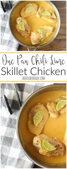 This is such an easy dinner idea-One pan, creamy and cheese chili skillet chicken