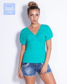 Зелена дамска блуза - Kokopa #онлайн #пазаруване #дрехи #блуза #късръкав #трико #зелено