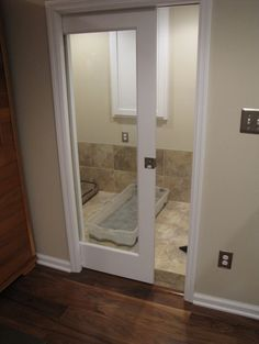 pocket door for the pets~ to keep them contained and not crated!