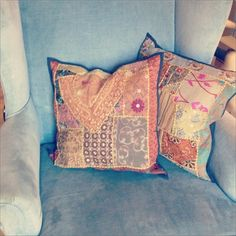 Recycled Indian saris made into beautiful pillow coverings. Add a touch of color to any decor.