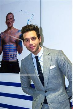Mika poses as he arrives for a party to celebrate the Jean-Paul Gaultier exhibition at the Grand Palais in Paris on March 31, 2015